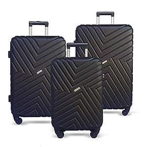 Luggage Set 3 Piece Baggage Suitcase Lightweight Expandable Hardside Spinner TSA Carry On Wheel Black