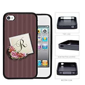 CUSTOM NAME INITIAL Burgundy Stripes with Pink Floral Center Stamp Design iPhone 4 4s Rubber Silicone TPU Cell Phone Case
