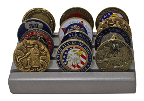 Military Challenge Coin Holder Stand Display, Solid wood, (Silver (Silver Finish Challenge Coin)