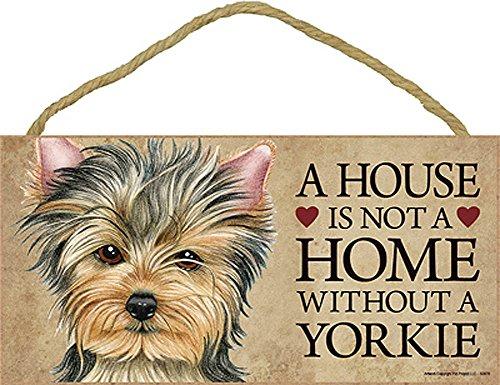 (Yorkie Wood Dog Sign Wall Plaque 5 x 10 Puppy Cut + Bonus)