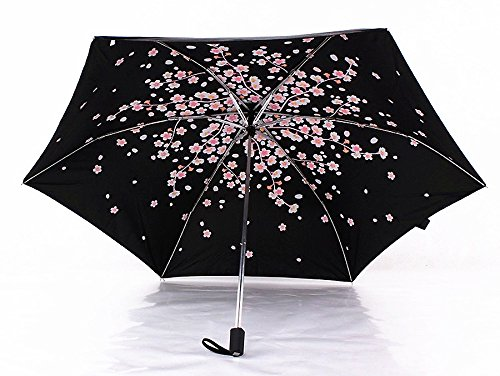 Cherry Blossom Foldable Windproof Travel Umbrella, Fast Drying/waterproof 8 Ribs Reinforced Windproof, , portable and durable for Business. (Plum Pink) by Tomato99 (Image #5)