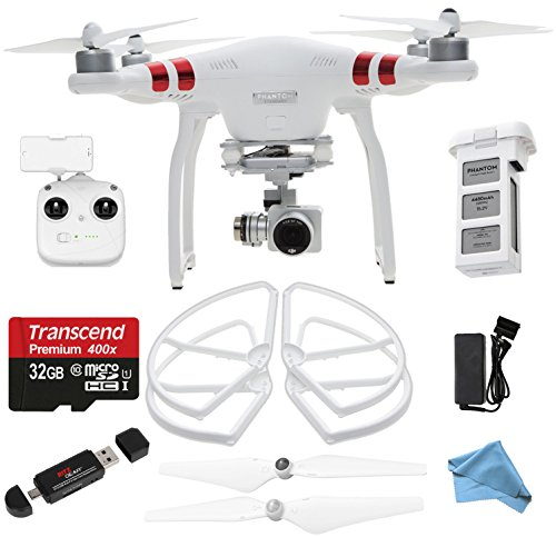 DJI Phantom 3 Standard Quadcopter Drone with 2.7k Video Camera HD Video Recording + Genuine Propeller Guards + Self-tightening Propeller + 32GB MicroSDHC + Ritz Gear Card Reader + Cleaning Cloth