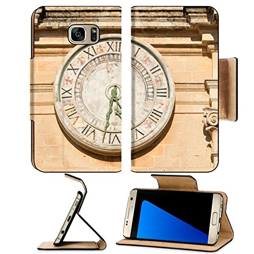 MSD Premium Samsung Galaxy S7 Edge Flip Pu Leather Wallet Case IMAGE ID: 35180317 Old clock on St Paul cathedral in Mdina Malta