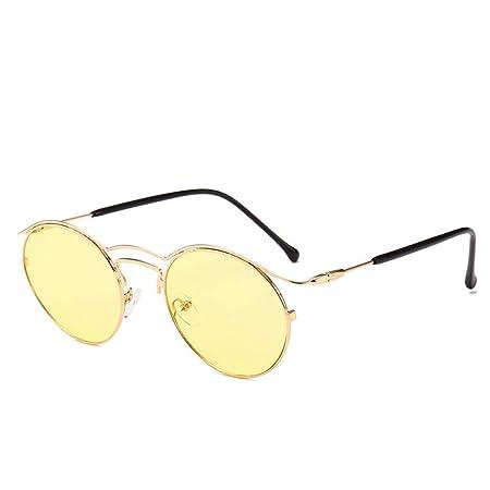 Yangjing-hl Gafas de Sol Retro de Montura Redonda Tendencia ...