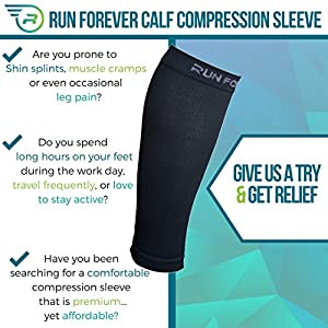 Calf Compression Sleeves - Leg Compression Socks for Runners, Shin Splint, Varicose Vein & Calf Pain Relief - Calf Guard Great for Running, Cycling, Maternity, Travel, Nurses (Black,Large)