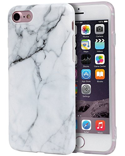 iPhone 7 Case, Imikoko™ Flexible Hard TPU Case Print Crystal for iPhone 7 4.7' - White Marble Pattern Slim Fit Snap On Hard Shell Back Case For iPhone 7 (White Jade) (White)