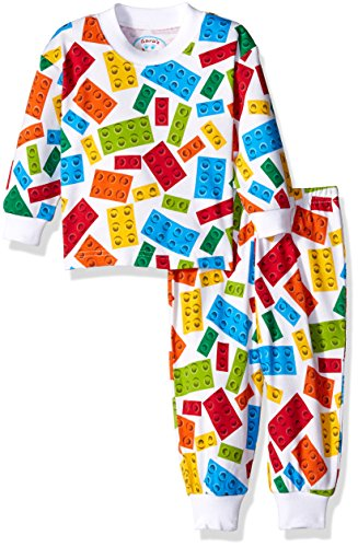 Relaxed Fit Coverall (Sara's Prints Toddler Boys' Super Soft Relaxed Fit Pajama Set, Locking Blocks, 24M)