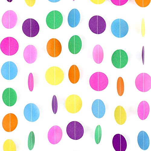 RUBFAC 66ft 5pcs Colorful Party Paper Garland Circle Dots Hanging Decorations for Birthday Party Wedding Decorations (66ft) (Primary Color Party Decorations)