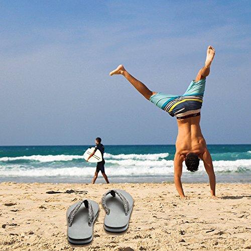 Men's Flip Flops Beach Sandals Lightweight EVA Sole Comfort Thongs(12,Grey) by DWG (Image #7)