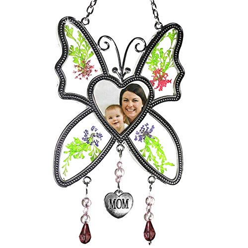 BANBERRY DESIGNS Mom Photo Butterfly Mother Suncatcher - Pressed Flowers in Between Glass - Heart Shape Picture Opening - Mom Gifts