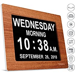 INNOCLOCK - Most Advanced - Superior Quality - Calendar Day Digital Clock - Large, Clear, Unabbreviated Time and Date - Ideal for Memory Loss, Impaired Vision and Seniors (8 inch, Wood Effect)