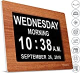 INNOCLOCK - Most Advanced - Superior Quality - Calendar Day Digital Clock - Large, Clear, Unabbreviated Time and Date - Ideal for Memory Loss, Impaired Vision and Seniors (8 inch, Wood)