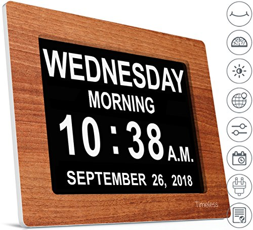 INNOCLOCK - Most Advanced - Superior Quality - Calendar Day Digital Clock - Large, Clear, Unabbreviated Time and Date - Ideal for Memory Loss, Impaired Vision and Seniors (8 inch, Wood Effect) (Clock Wall Resolution)
