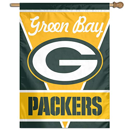 Sorcerer Custom Colorful Wall Flag American Football Team Green Bay Packers Outdoor House Yard Garden Flag Polyester Indoor Banner for Wedding Party Decor 27x37 Inch