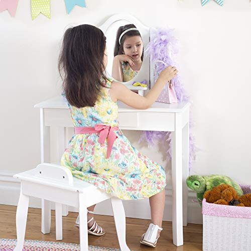 Guidecraft Classic White Vanity and Stool Set: Kids' Wooden Table with 3 Mirrors, Storage Seat and Make-Up Drawer - Children's Furniture