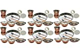 Set of 6 Prisha India Craft Indian Dinnerware Steel Copper Thali Set Dia 13'' Traditional Dinner Set of Plate, Bowl, Spoons, Glass with Napkin ring and Coaster - Christmas Gift