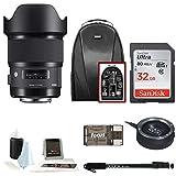 Sigma 20mm f/1.4 Art Lens for Canon EF w/ Digital Pro Sling SLR Backpack & 32 GB SD Card Bundle