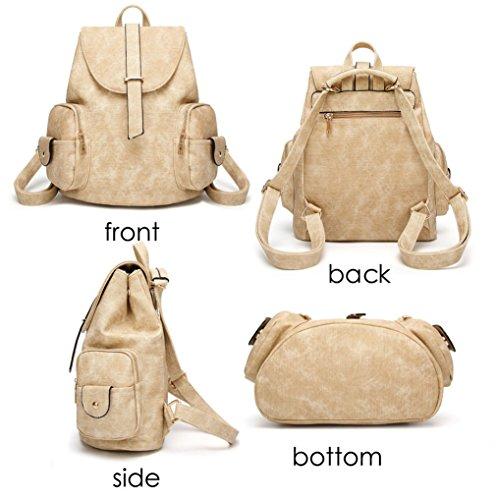 Women Vintage Anti Schoolbag Backpack Bags Shoulder Ladies Brown Khaki Waterproof Girls Rucksack Theft Black qFHgqXzwxd