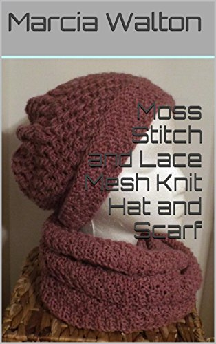 Moss Stitch and Lace Mesh Knit Hat and Scarf