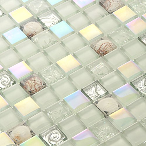 Iridescent Tiles Glass Mosaic Conch Tile Backsplash White Tiles Kitchen Shower Wall Decoration Material (1PCS Small Sample 2.8x5.9 Inches)
