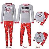 Gufenban Family Christmas Pajamas Set Santa Long Sleeve Letter Printed Sleepwear Nightwear Parent Child Family Equipment Matching (Women-Gray,M)