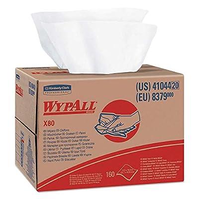 WypAll 41044 X80 Cloths, HYDROKNIT, Brag Box, White, 12 1/2 x 16 4/5