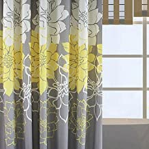 Alicemall Floral Shower Curtain Rustic Style Yellow and Grey Flower Bathroom Curtain Set, Waterproof Polyester Fabric Summer Bath Curtain,72x72 inch, 12 Hooks Included (Yellow)