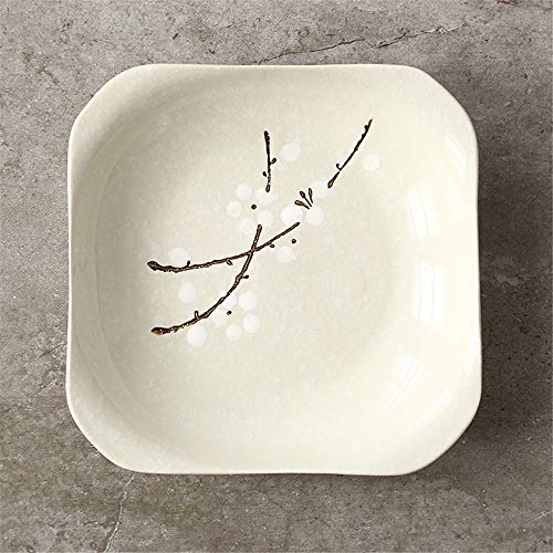 (Japanese style and wind hand-painted glazed snowflake ceramic tableware home restaurant meals dish wishful square plate cyan 18x18cm)