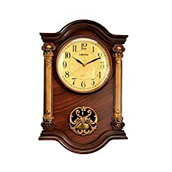 Le'raze 22 x 15 x 3-Inch Grandfather Wall Clock with Swinging Pendulum, Mahogany/Gold