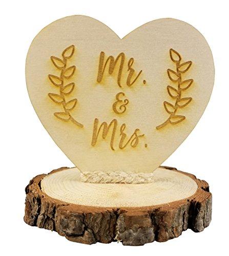 Rustic Wood Mr. & Mrs. Wedding Cake Topper