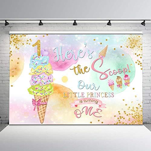Mehofoto Ice Cream Birthday Backdrop Happy 1st Birthday Photo Background 7x5ft Pink and Gold Sprinkles Vinyl Backdrops Girls Birthday ()