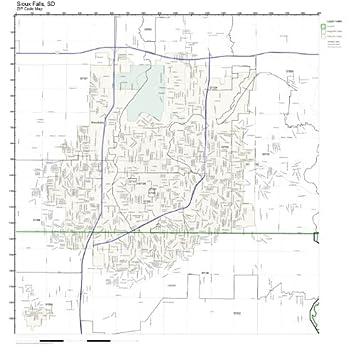 Amazon.com: ZIP Code Wall Map of Sioux Falls, SD ZIP Code Map Not