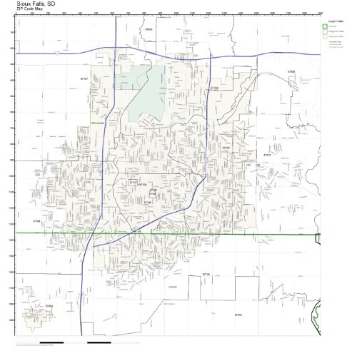ZIP Code Wall Map of Sioux Falls, SD ZIP Code Map Not Laminated (Code Zip Map Wall)