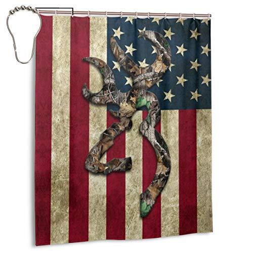 Pinata Deer American Flag Shower Curtain Liner Hooks Set, Waterproof Polyester Fabric Bath Curtain Bathroom Decor Sets with Hooks -