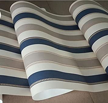 Ayzr Moderne, Weiß Und Blau Gestreiften Tapeten Schlafzimmer Tapete ...