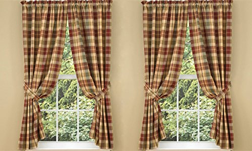 Saffron Curtain Panels with Tiebacks Included. 72 Inches Tall By 63 Inches Wide. Set of 2