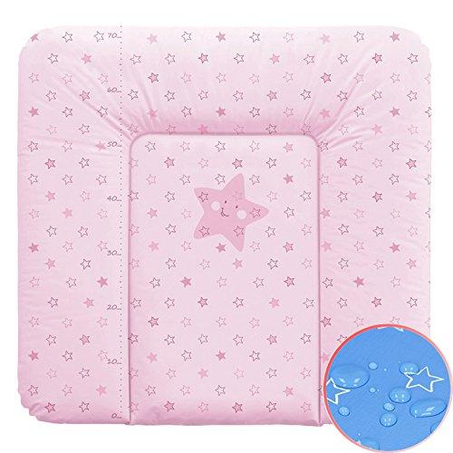 Weiche Wickelauflage Vliesfüllung 70x75cm Sterne rosa Wickeltischauflage Baby Auflage Wickeln Ceba Baby