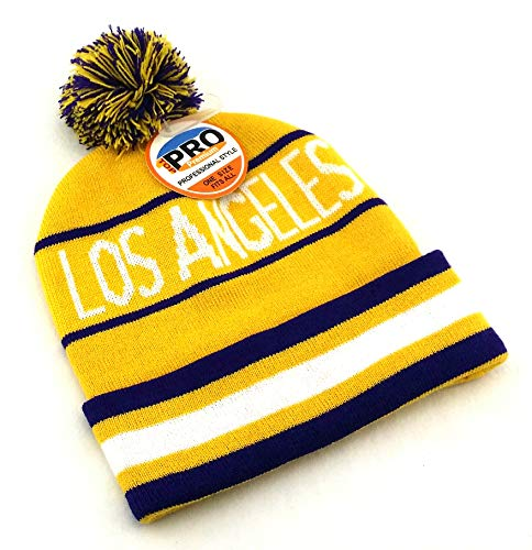 Reebok Embroidered Cap (Legend of the Game Los Angeles New LA Top Pro City Youth Kids Beanie Pom Lakers Colors Purple Gold Knit Cuffed Era Hat Cap)
