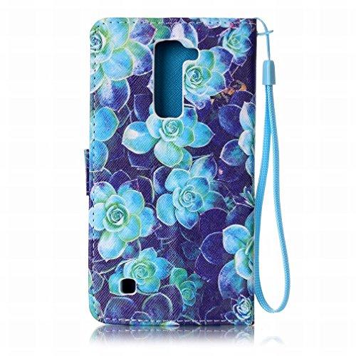 Yiizy LG K7 X210 MS330 Funda, Blue Rose Diseño Solapa Flip Billetera Carcasa Tapa Estuches Premium PU Cuero Cover Cáscara Bumper Protector Slim Piel Shell Case Stand Ranura para Tarjetas Estilo