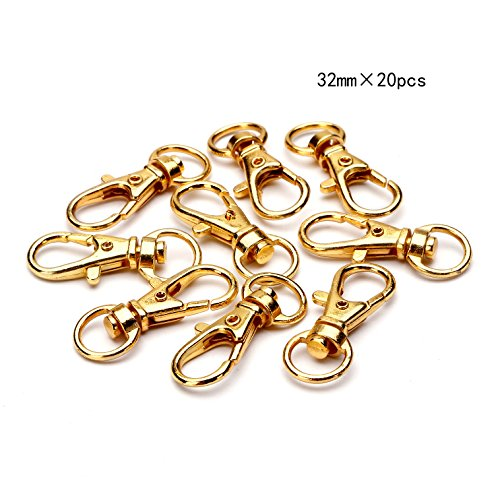 BRCbeads Lobster Clasp Gold Plated Jewelry Lobster Claw Swivel Clasps 32mm Key Ring for Jewelry Making