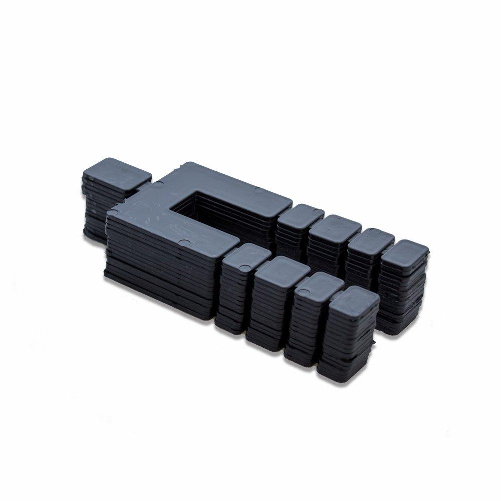 """Pack of 160 pcs. 4-1//16/"""" x 1-7//8/"""" x 1//16/"""" Black Plastic Shim Size"""