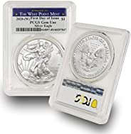 2020 (W) 1 oz American Silver Eagle Coin Gem Uncirculated - First Day of Issue (Struck at The West Point Mint