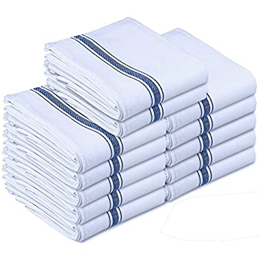 Kitchen-Restaurant-Hotel Dish-Cloth Tea Towels - 12 Pack, White with Blue Side Stripe, 100% Cotton with Herringbone Weave, Professional Quality, Low Lint, 24 oz, Highly Absorbent (15 inch x 25 inch) by Utopia Towel