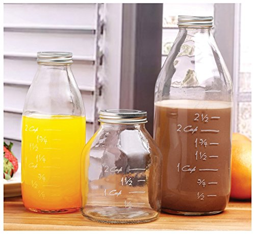 Durable Glass Milk Bottles with Embossed Capacity Measuring Marks With Metal Twist Lids Clear Vintage Style Dairy Bottle Beverage Glassware and Drinkware for Parties BBQ Picnics 33/17/17 oz