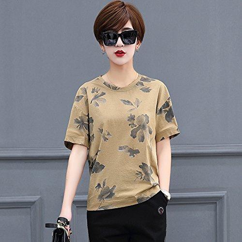 mercerizzato semplice leggera shirt corta MOMO566225 stampa T in shirt estate manica girocollo donna sciolto Carta t cotone 2018 q8qRZUw