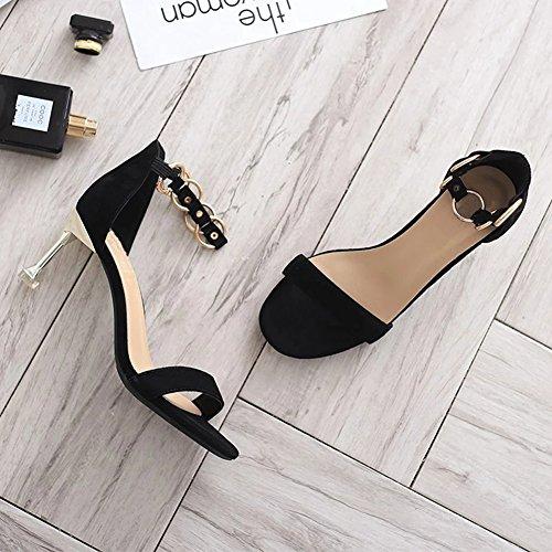 Altos Las Mujeres Los Tobillo Ruiren Negro Para Del Ocasionales Talones Sandalias Zapatos Señoras Dedo Abiertos Pie De HqFSw