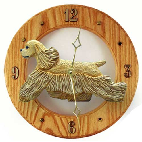 BUFF Cocker Spaniel Wall Clock in Light Oak by Michael Park