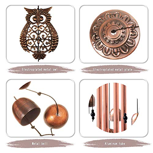 Alitake Owl Wind Chimes for Outside, Brass Wind Chimes Outdoor Clearance with S Hook Windchimes Indoor and Outdoor Decorations, Windchime Gifts for Mom Grandma Garden Gift Housewarming Gift