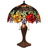 Cheap Bieye L11409 16 inch Rose Tiffany Style Stained Glass Table Lamp, 23 inch Tall