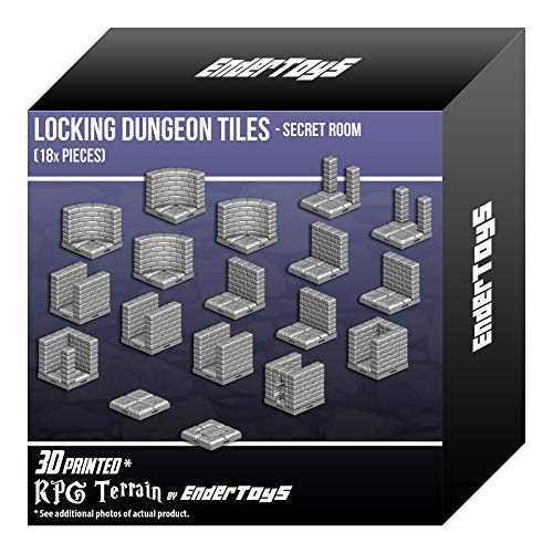 EnderToys Locking Dungeon Tiles - Secret Room, Terrain Scenery Tabletop 28mm Miniatures Role Playing Game, 3D Printed Paintable ()